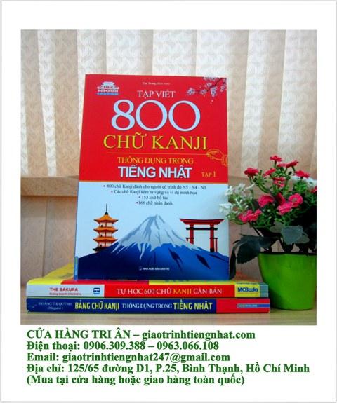Sách Học Tiếng Nhật Tập Việt 800 Chữ Kanji Thông Dụng Trong Tiếng Nhật Tập 1 (Có Tiếng Việt)