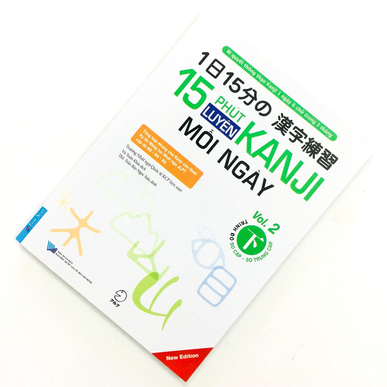 Sách Học Tiếng Nhật 15 Phút Luyện Kanji Mỗi Ngày Vol 2 (Có Tiếng Việt)